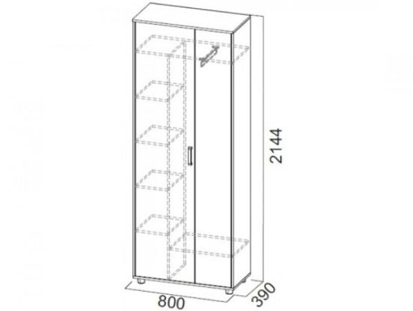 Шкаф двухстворчатый комбинированный Визит 1