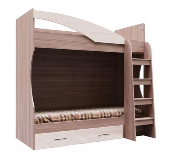Кровать двухярусная с ящиком Город